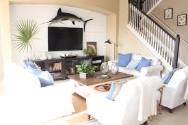 blue and white family room the waterside home tour starfish