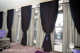 Light Grey Drapes Navy Blue Velvet Pinch Pleat Drapes Over Light Grey Sheers