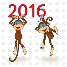 two funny monkeys christmas card 2016 vector clipart image