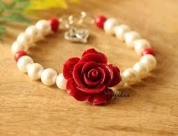 rose pearl bracelet images Red rose pearl gemstone beaded handmade bracelet trendy red jpg