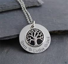 3 name necklace stainless steel tree of washer name necklace