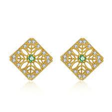 flower stud earrings green emerald flower stud earrings gemheal