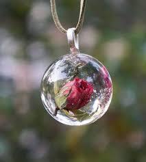 rose flower necklace images Real rose necklace romantic real roses flower hemisphere necklace jpg