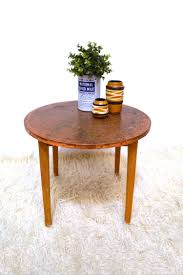 copper top coffee table 70s stylish retro vintage mid century small round coffee table