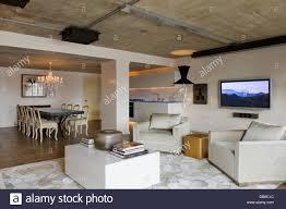 open plan living room in modern industrial luxury apartment