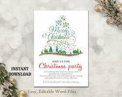 christmas party invitation template printable christmas tree