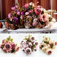 1 bouquet 10 heads vintage artificial peony silk flower wedding