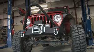 jeep yj winch rough country jeep tj wrangler stubby winch bumper install 149 95