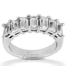 emerald cut wedding set emerald cut prong set seven diamond wedding band 1 75 ct tw