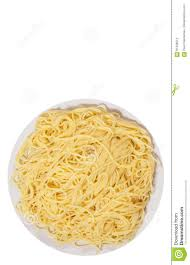 capellini pasta on plate top view isolated stock photo image