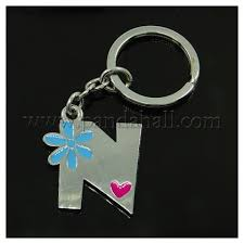 wholesale alloy enamel key chains with iron keyrings letter n