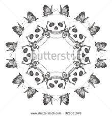 circular ornament skulls butterflies mandala stock