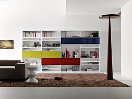 creative living room with modern shelving units also persian rug