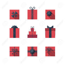 gift box bows flat gift box icon set with different bows gift wrapping gift