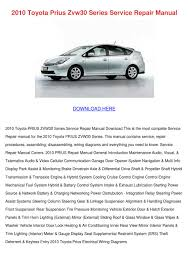2010 toyota prius zvw30 series service repair by karenguthrie issuu