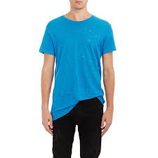 lyst iro distressed wase t shirt in blue for men