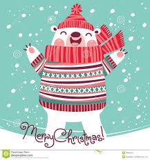 christmas card with cute polar bear stock vector image 44000531