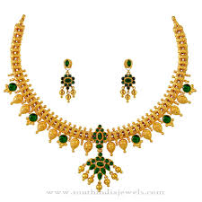 gold necklace with stones images Gold necklace with green stones south india jewels jpg