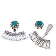 earring jackets colleen turquoise and white topaz sterling silver stud