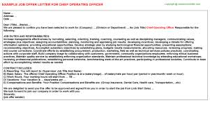 chief operating officer offer letter
