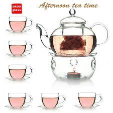 tea cup set glass tea set 600ml heat resistant glass teapot warmer 100ml tea
