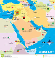 Map Middle East by Middle East Map And Flags Royalty Free Stock Images Image 37178899