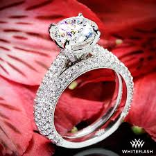 wedding set rings rounded pave diamond wedding set 2393