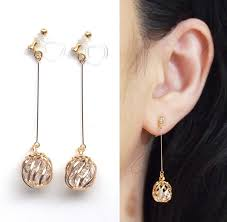 gold clip on earrings crystals in cage invisible clip on earrings drop clip on