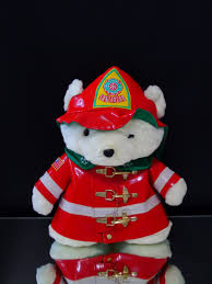 firefighter plush bear fireman stuffed animal 1996 dayton