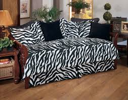 Zebra Side Table Decor Zebra Daybed Cover Sets With Round Wood Side Table Also