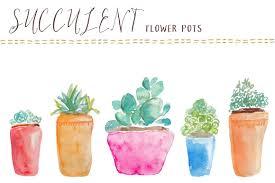 Cute Succulent Pots Watercolor Succulents Flower Pots Illustrations Creative Market