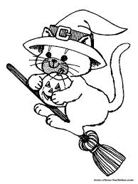 coloriage halloween chat noir de sorcière gratuit à imprimer en ligne