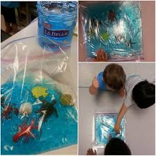 preschool under the sea ocean in a bag or sensory bag blue hair gel