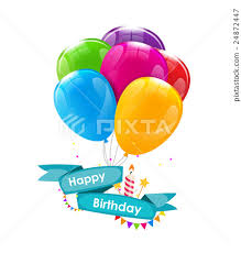 happy birthday card template with balloons ribbon stock