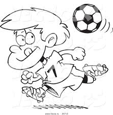 vector of a cartoon running soccer boy coloring page outline by