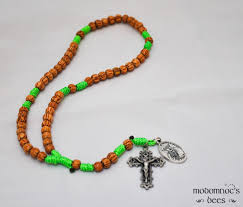 rosary twine hawaii rosary palm bead bright green twine knot rosary featuring