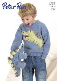 knitting pattern dinosaur jumper dinosaur sweater and toy in peter pan dk 1146 knitting patterns