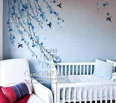 Boy Nursery Wall Decal Baby Boy Tree Wall Decal Nursery Wall Decal And Birds Blue Cherry