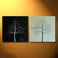 black and white modern canvas tree painting framed for sale