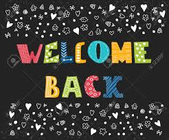welcome back lettering text hand drawn design elements cute