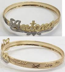 name bracelets personalized 14k gold overly any name id bangle bracelets