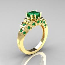 gold emerald engagement rings classic 10k yellow gold 1 23 ct princess emerald engagement