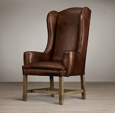 Restoration Hardware Armchair Belfort Wingback Leather Dining Chair Restoration Hardware