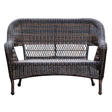 Brown Wicker Patio Furniture Dark Brown Wicker Outdoor Patio Bench Settee At Home At Home