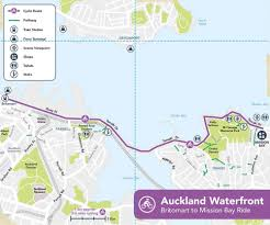 Air New Zealand Route Map by Auckland Waterfront Cycle Ride