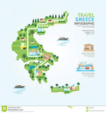 Greece Map Blank by Infographic Travel And Landmark Greece Map Shape Template Design