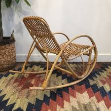 Bamboo Rocking Chair Vintage Mid Century Boho Bamboo Child Sized Rocking Chair