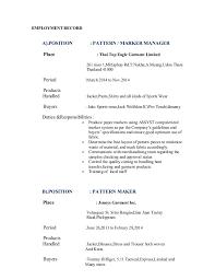 pattern maker resume curriculum vitae pattern etame mibawa co