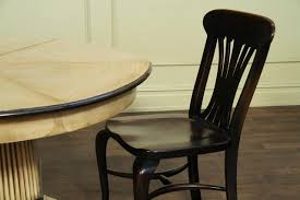 Solid Walnut Dining Chairs by Tropical Round To Round Dining Table Pickled Finish Ebony Trim