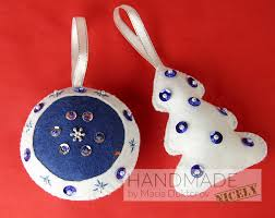 felt ornaments set in white and blue